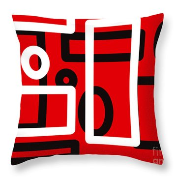 Red Back And White Design Throw Pillow
