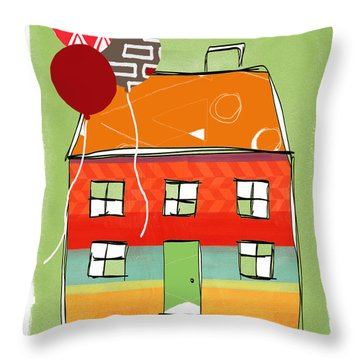 Red Balloon Throw Pillow by Linda Woods