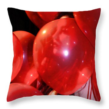 Throw Pillow featuring the photograph Red Balloons by Viktor Savchenko