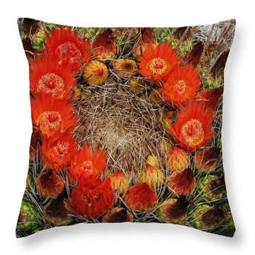 Red Barell Cactus Flowers Throw Pillow by Tom Janca