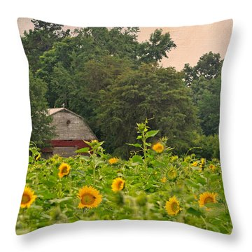 Red Barn Among The Sunflowers Throw Pillow