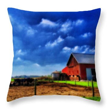 Red Barn And Cows In Ohio Throw Pillow by Dan Sproul
