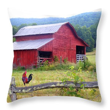 Red Barn And Rooster Throw Pillow