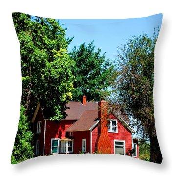 Red Barn And Trees Throw Pillow by Matt Harang