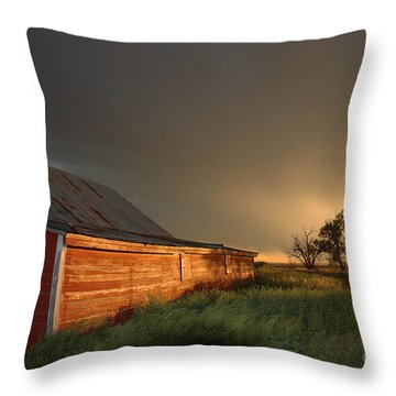 Red Barn At Sundown Throw Pillow by Jerry McElroy