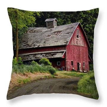 Red Barn - County Road  Throw Pillow