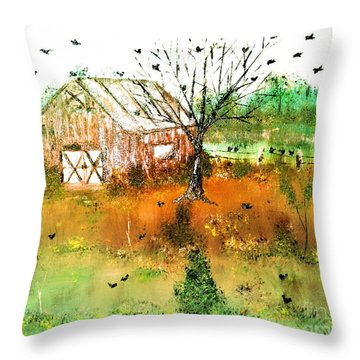Throw Pillow featuring the painting Red Barn by Denise Tomasura