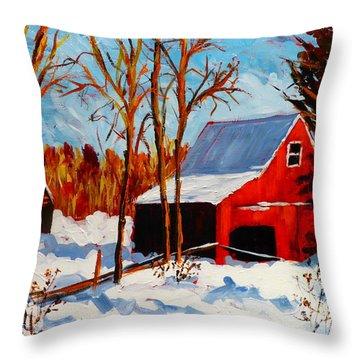 Red Barn First Snow Throw Pillow by Diane Arlitt
