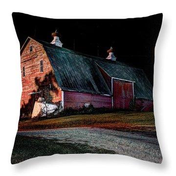 Red Barn Full Moon Throw Pillow