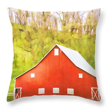 Red Barn Green Hillside Throw Pillow