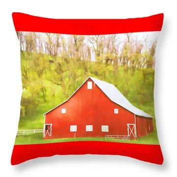Red Barn Green Hillside Throw Pillow