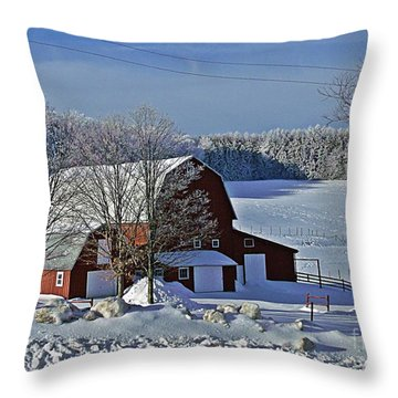 Red Barn In Snow Throw Pillow