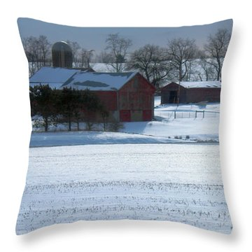 Red Barn In Snow Cover Throw Pillow