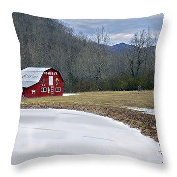 Red Barn In Tate City Throw Pillow by Susan Leggett