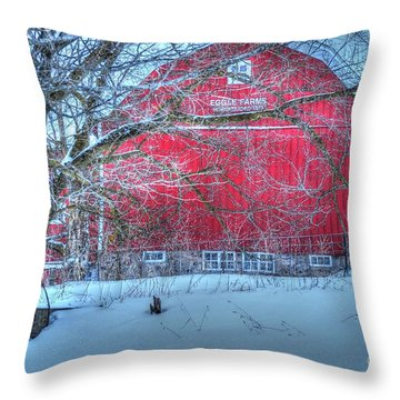 Red Barn In Winter Throw Pillow by Terri Gostola