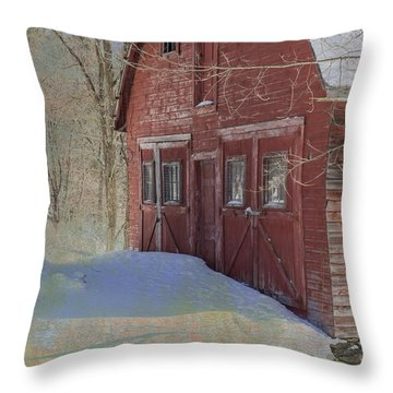 Throw Pillow featuring the photograph Red Barn In Winter by Tom Singleton