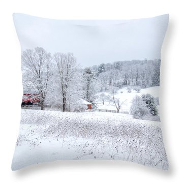 Red Barn In Winter Wonderland Throw Pillow by Donna Doherty