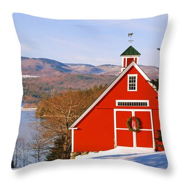 Red Barn On Newfound Lake Throw Pillow