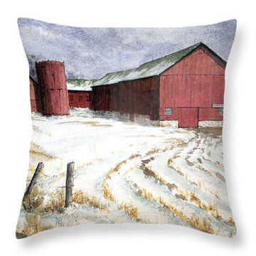 Throw Pillow featuring the painting Red Barn On Rt. 49 by Roger Rockefeller