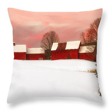 Red Barn Sunset Throw Pillow