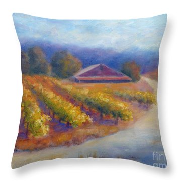 Red Barn Vineyard Throw Pillow by Carolyn Jarvis