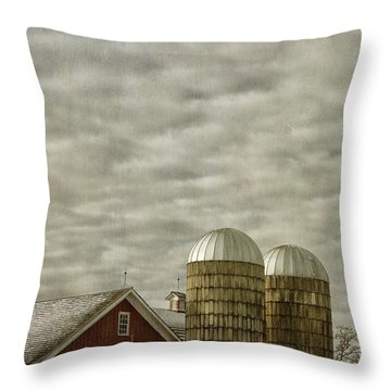 Red Barn With Two Silos Throw Pillow