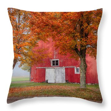 Throw Pillow featuring the photograph Red Barn With White Barn Door by Jeff Folger