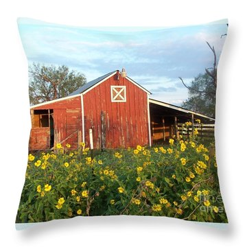 Red Barn With Wild Sunflowers Throw Pillow