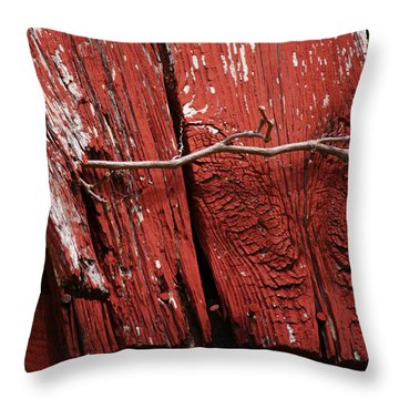 Throw Pillow featuring the photograph Red Barn Wood With Dried Vine by Rebecca Sherman