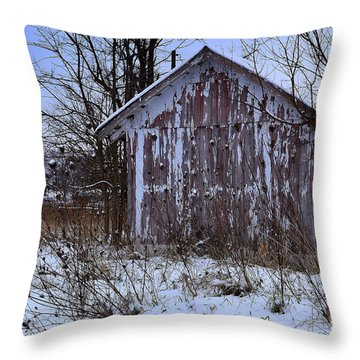Red Barns In Winter Throw Pillow