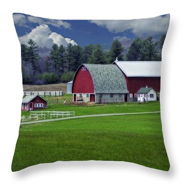 Red Barns Throw Pillow