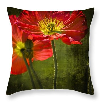 Red Beauties In The Field Throw Pillow by Heiko Koehrer-Wagner