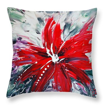 Red Beauty Throw Pillow by Teresa Wegrzyn