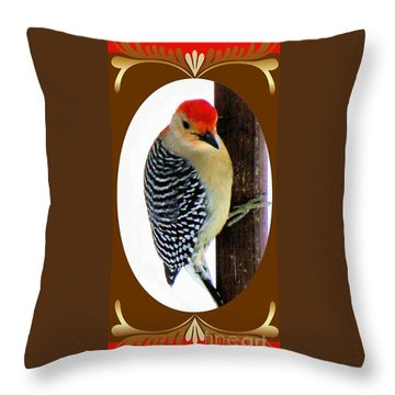 Throw Pillow featuring the photograph Red-bellied Woodpecker Framed by Janette Boyd
