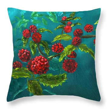 Red Berries In Blue Green Painting Throw Pillow by Lenora  De Lude