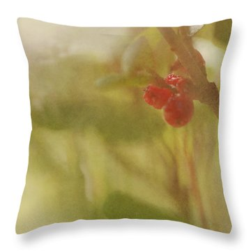 Red Berries Of The Bog Cranberry Throw Pillow by Roberta Murray