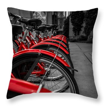 Red Bicycles Throw Pillow