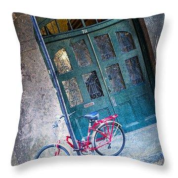 Throw Pillow featuring the digital art Red Bike by Erika Weber