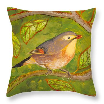Throw Pillow featuring the painting Red-billed Leiothrix by Anna Skaradzinska