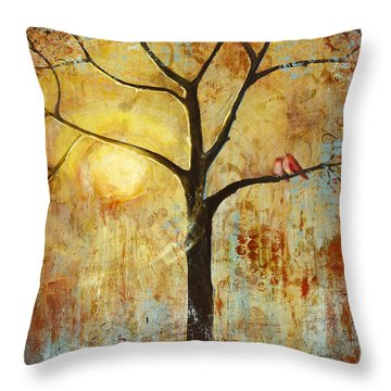 Red Birds Tree Version 2 Throw Pillow