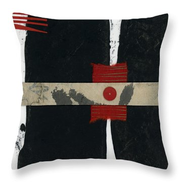 Red Black And White Collage 1 Throw Pillow