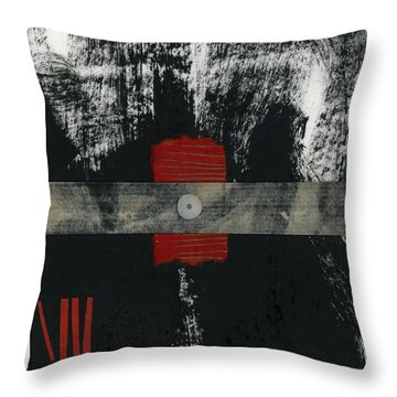 Red Black And White Collage 2 Throw Pillow