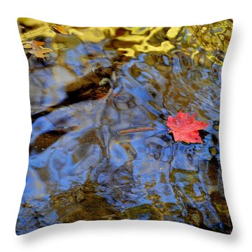 Red Blue And Gold Throw Pillow by Frozen in Time Fine Art Photography