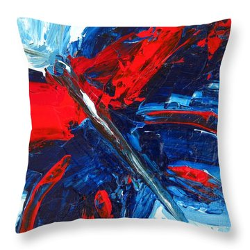 Red Blue Butterfly Throw Pillow
