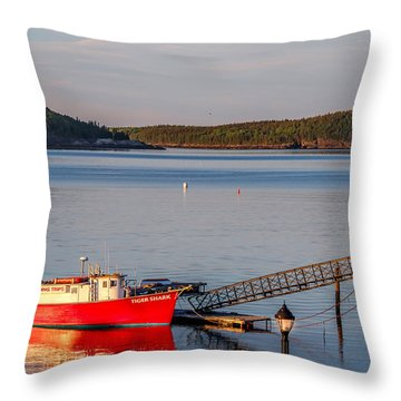 Throw Pillow featuring the photograph Red Boat Bar Harbor Me by Trace Kittrell