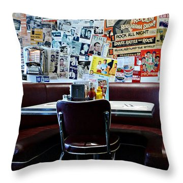 Red Booth Awaits In The Diner Throw Pillow by Nina Prommer