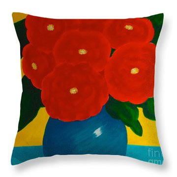 Throw Pillow featuring the painting Red Bouquet by Anita Lewis