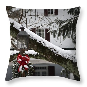 Red Bow Candle Light Throw Pillow