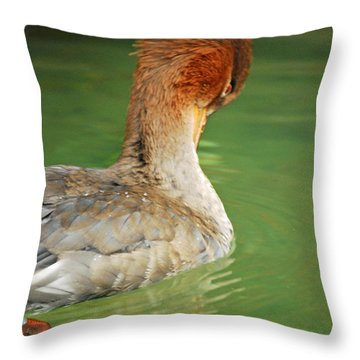 Throw Pillow featuring the photograph Red Breasted Merganser by Maggy Marsh