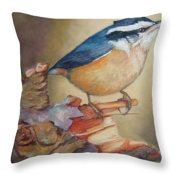 Red-breasted Nuthatch Bird Throw Pillow